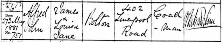 Alfred John baptism