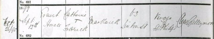 Ernest Markwick baptism
