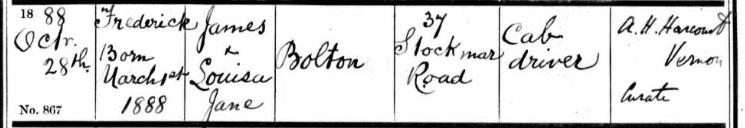 Frederick bolton baptism