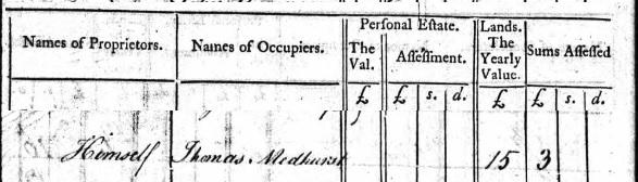 Thomas Medhursy tax 1785