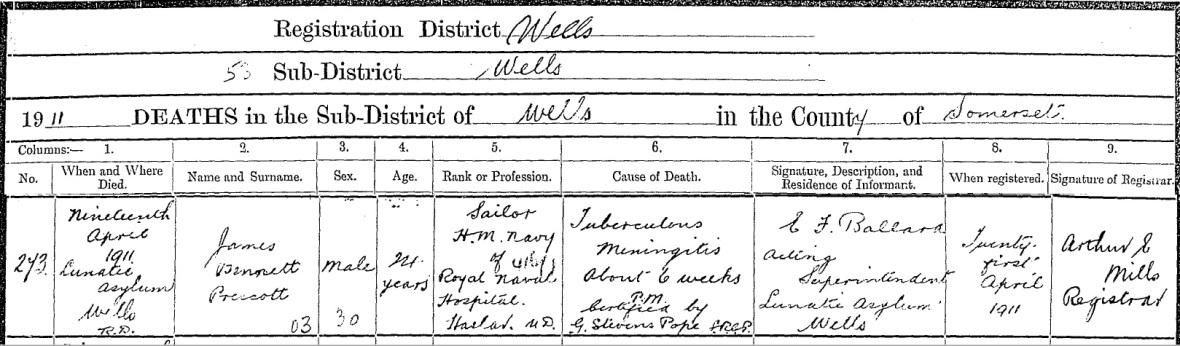 James Bennett Prescott death
